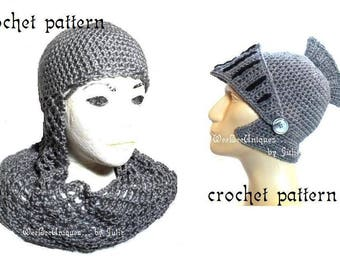 2 knight hats crochet pattern digital download chainmail coif knight helmet hat children & adults