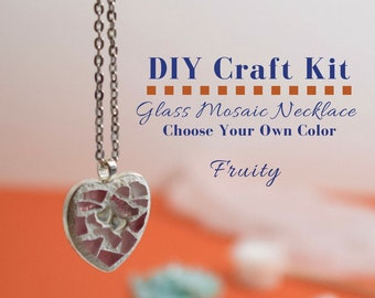 Mosaic making kits how to kits supplies tools etsy studio do it yourself jewelry complete necklace kit glass mosaic necklace activity choose your color gifts under 15 diy craft kit solutioingenieria Images