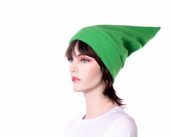 Green Stocking Cap Elf Hat Pointed Hat Bright Green Pointy Beanie