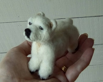 Needle felted polar bear cub