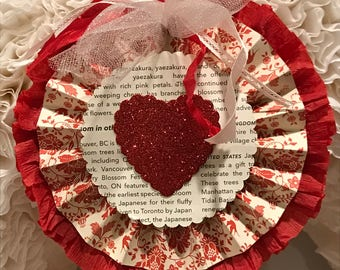 Red damask glitter heart medallion/valentine rosette