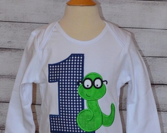 Personalized Book Worm Birthday Applique Shirt or Bodysuit Girl