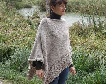 Women cabled oatmeal knitted wool winter poncho gray chunky hand knit poncho wool winter poncho cable shawl