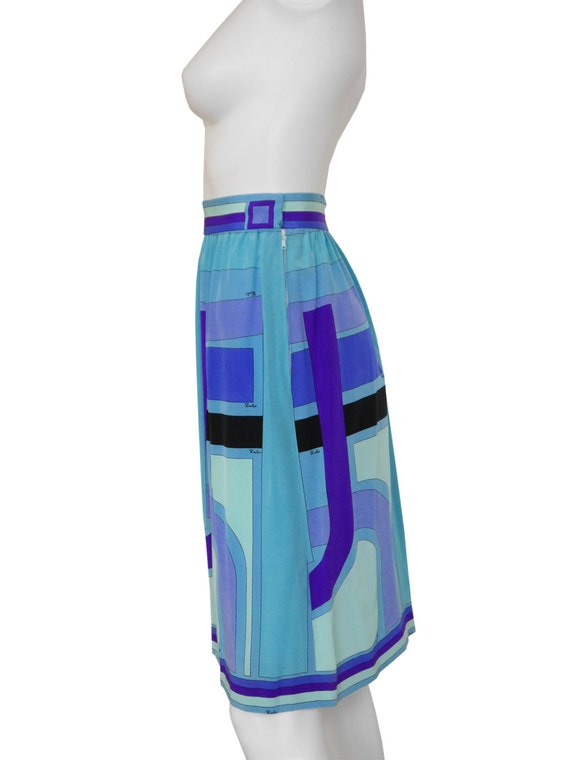 Signature Turquoise Vintage Printed XS 1960s EMILIO 100 PUCCI Print Purple 4 Blue Skirt 2 Silk Size Silk gUqpCnY
