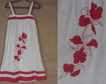 Vintage 70s Sundress Small White Cotton Red Dot Floral Applique