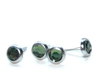 4 Green Crystal Brad Embellishments - Scrapbooking, Flower Middles