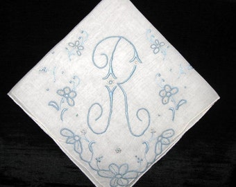 Monogrammed Handkerchief Initial letter Personalized Gift for Bride from Mother Vintage Hankies