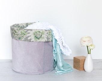 M Fabric Basket, Toy Storage, Storage Basket, Storage Bin, Nursery Storage, Project Bucket // Liberty Peonies Print // Green Grey