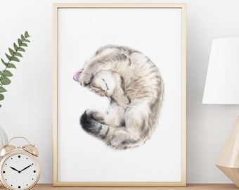 Cat Print - Grey Tabby Cat Painting, Home Wall Decor, Watercolor Art, Crazy Cat Lady, Cat Lover Gift, Minimal, British Shorthair