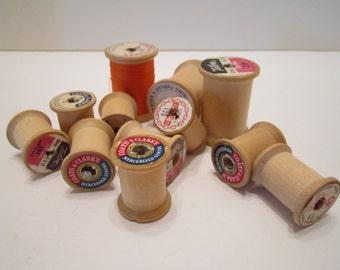 Vintage Wood Thread Spools - Variety of Brands - Set of 12