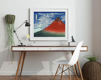 Woodblock Art Poster Fuji Mountains in Clear Weather 1831 by Hoksuki Mount Fuji Print Japanese Art Print Japanese Woodblock Volcano Poster