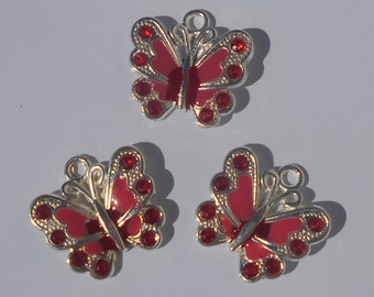 Set of 3 Red Butterfly charm pendants