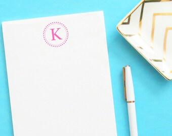 Modern Monogram notepad set, Simple Personalized notepad set, Monogrammed notepad set, Personalized Writing Paper, Circle Monogram, NP029