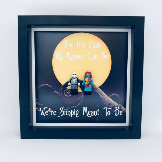 """Jack And Sally """"We're Simply Meant To Be"""" Minifigure Frame"""