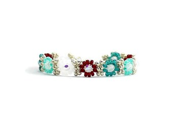 Multi Color Girls Bracelet - Kids Daisy Chain Bracelet - Seed Bead Jewelry for Children - Child's Flower Bracelet - Beaded Jewelry