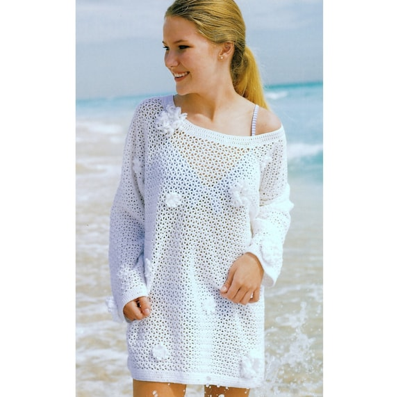 Vintage Crochet Pattern Flower Embellished Mesh Tunic Sweater Lace