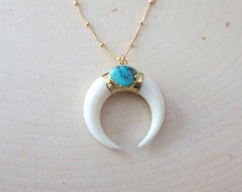 Double horn necklace, horn pendant necklace, crescent horn necklace, white horn necklace, turquoise necklace, statement necklace