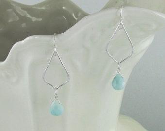 Amazonite drop earrings -Sterling silver -Jewelry By A.H.