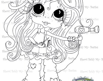 INSTANT DOWNLOAD Digital Digi Stamps Big Eye Big Head Dolls Messy Bessy My Besties Digi Img242 By Sherri Baldy