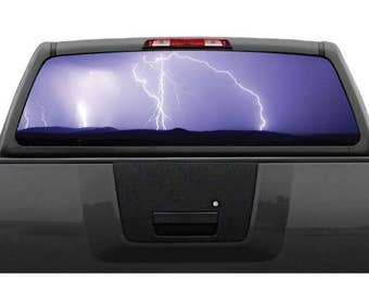 Lightning Storm Purple Rear Window Graphic Decal (Perforated)