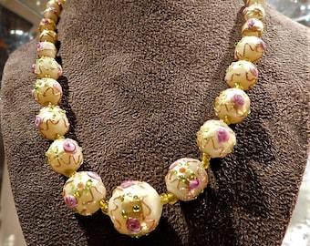 Venetian Necklace  / Wedding Cake Beads / Murano / Lampwork / Fiorato