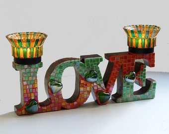 Votive Candle Holder, Love Tealight Holder, Mosaic Candle Holder, Candles & Holders, Mosaic Art, Unique Gift, Mosaic Decor, House Warming