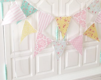 Shabby Chic Fabric Banner, Bunting, Garland Pennant Flags, Pink, Blue, Yellow, Wedding Decor, Photo Prop, Baby Nursery Decor, Birthday Party