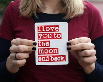 Love Postcard // I love you to the Moon and Back  // Single Postcard // Motherhood // Parenthood // Love // Friendship