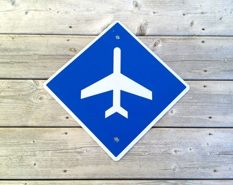 Airplane airport sign metal highway road sign reflective blue