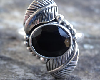 Sterling Silver Natural Black Onyx Ring Size 7 - Boho chic Ring Size 7 - Natural Stone Ring  Black Onyx Handmade Ring Size 7 Sterling Silver