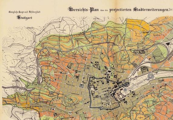 1897 Stuttgart Map Stuttgart Old Map Street Map of