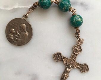 First Communion Three Hail Mary Bronze Chaplet