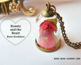 SALE! Beauty and the Beast Rose Necklace or Earrings - Gift box included