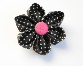 Kit origami brooch in black and pink fabric
