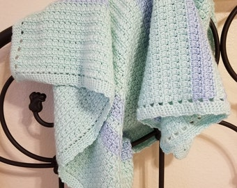 Crocheted Puff Striped Baby Blanket
