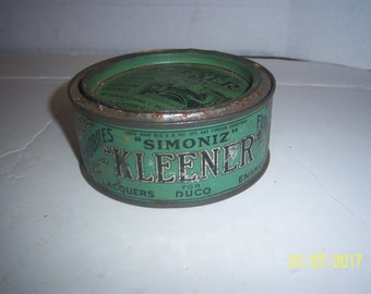 """Early Simoniz Kleener with Model T or A Metal Auto Polish Cleaner 1 7/8"""" Tall Metal Advertising Tin"""