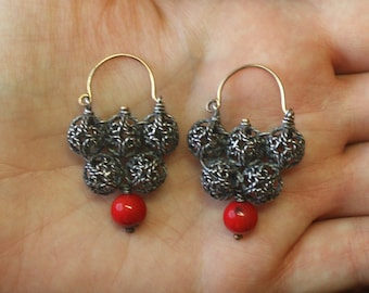 Colts earrings. Handmade 14K & 925, yellow gold and sterling silver. Artisan authentic ancient style. With dyed red coral. Christmas.