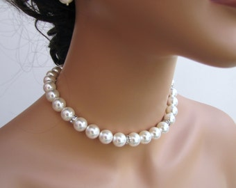 Simple white pearl necklace, bridal necklace, sea shell pearl wedding necklace, bridal choker - Jane