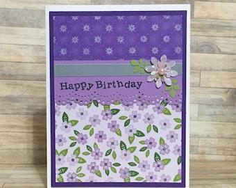 Greeting card, handmade card, birthday card, occasion card, purple, floral design, flower