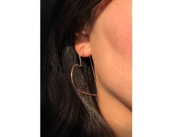 2.5-inch 14k Gold-filled Open Heart Threader Hoop Earrings