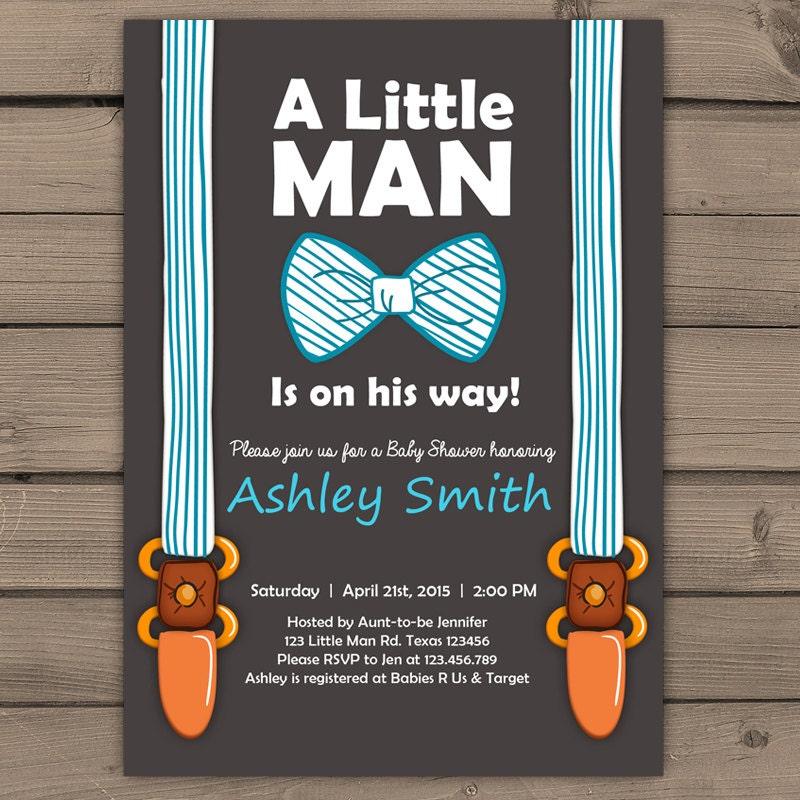 Little Man Baby Shower invite Baby Shower invitation Baby Boy