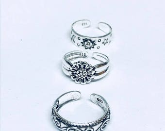 3 x Sterling Silver Toe Rings  Swirl,Flower and sun and moon