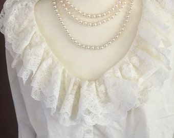 S/Victoria's Secret/Gold Label/White Nightshirt with Lace/Small/Cotton
