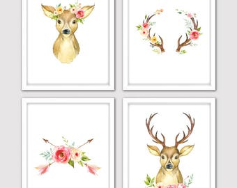 Watercolor Floral Deer Nursery Art Print Set of 4