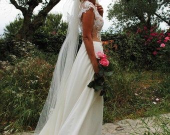 Lace Illusion Wedding Dress.Two Piece Wedding Dress. Bridal Separates. LaceTop. A-Line Bridal Dress. Beach Wedding Dress.Boho Wedding Dress.