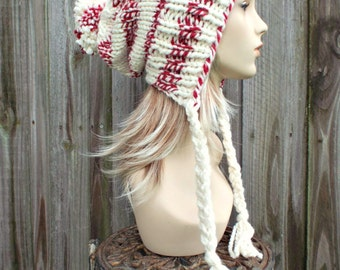 Cream Slouchy Pom Pom Hat - Cream and Red Hat - Cream Hat Cream Beanie Slouchy Hat Slouchy Beanie  Winter Hat Womens Hat