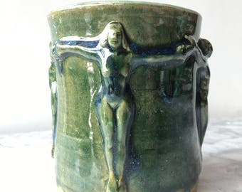 Ceramic Goddess Cup, Tea Bowl Tumbler with Bas Relief Nude Figure Yoga Art Yunomi Vessel