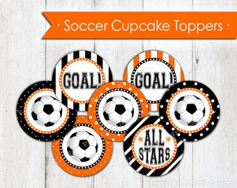 Orange Soccer Cupcake Toppers - Instant Download