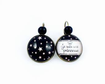 Sleepers bronze earrings - cabochon I'm a Princess