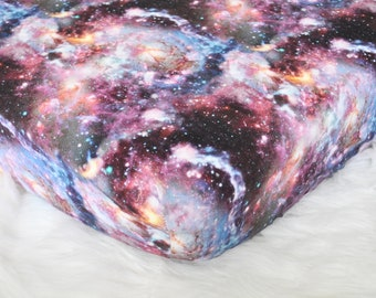 Space Crib Sheet - Galactic Dreams - Fitted Crib / Toddler Sheet Diaper Changing Pad Cover - Space - Galaxy - Stars - Science - Planets
